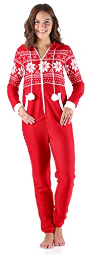 Frankie & Johnny Women's Sleepwear Brushed Fleece Ribbed Non-Footed Onesie Pajama, Red (FJ1019-1077-XS) ()