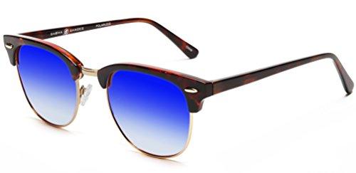 Samba Shades Polarized Club Master Vintage Sunglasses with Demi Brown Frame, Revo Blue Mirror - Sun Glaases
