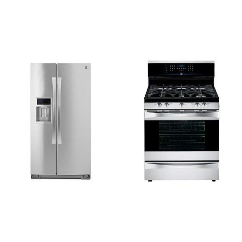 Kenmore Elite 28 cu. ft. Side-by-Side Refrigerator with Accela Ice Technology in Stainless Steel and  Kenmore Elite 5.5 cu. ft. Self Clean Dual Fuel Range bundle, both in Stainless Steel, includes delivery and hookup