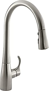 KOHLER K-596-VS Simplice High-Arch Single-Hole or Three-Hole, Single Handle, Pull-Down Sprayer Kitchen Faucet, Vibrant Brushed Stainless with 3-function Spray Head, Sweep Spray and Docking Spray Head Technology (B001U6I1Y0) | Amazon Products