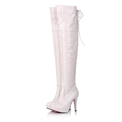 (CYBLING Womens Sexy Over The Knee High Drawstring Boots Stretchy Patent Leather Thigh High Stiletto Boot White)