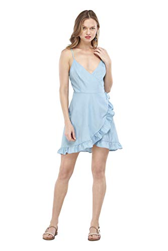 Our Heritage Women's Dress Women's Light Denim Mini Wrap Dress with Frill (S) ()