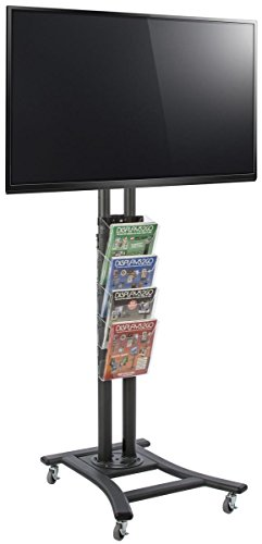 - Displays2go TV Stand with Wheels, 4 Pocket Literature Rack, Holds HDTV 32