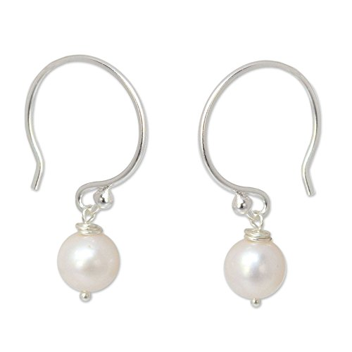 NOVICA White Cultured Freshwater Pearl .925 Sterling Silver Dangle Earrings Snow Queen