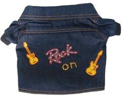 Rock On Jukebox Denim Dog Jacket with Orange Lining and Swarovski Crystals (Small)