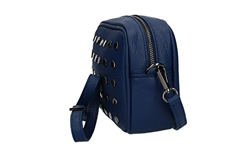 Borsa donna a tracolla PIERRE CARDIN blu in pelle Made in Italy VN1547