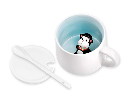 Ace Select Coffee Mug Little Monkey inside Cute Animal Ceramic Cup 400ml Coffee Cup with Lid and Spoon Birthday Gift for Men and Women (Ace Monkeys)