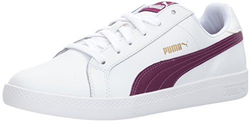 PUMA Women's Smash Wns L - Puma White-Dark Purple Sneakers (Large Image)