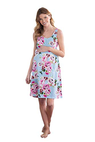 Nursing Home Gowns - Baby Be Mine 2 in 1 Maternity Nursing Nightgown Sleeveless Hospital Bag Must Have, Pregnancy and Breastfeeding (Small, Isla)