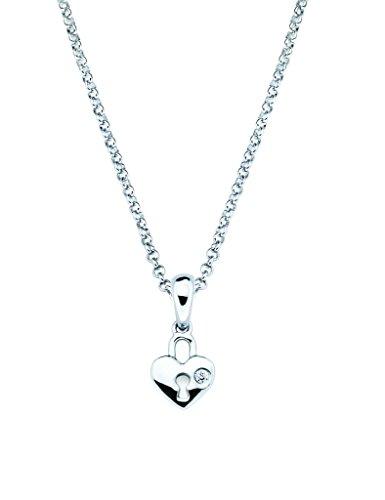 (Little Diva Diamonds 925 Sterling Silver Diamond Accent Heart Lock Pendant Necklace, 16