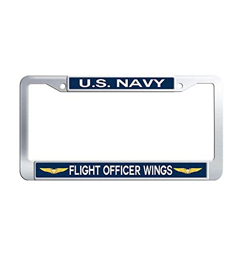 Nuoyizo US Navy Flight Officer Wings Metal License Frame Waterproof Stainless Steel Car Auto Tag Frame (1 pic, 12.25