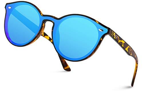 (WearMe Pro - Premium Round Full Mirror Flat Lens Round Retro Sunglasses (Tortoise Frame/Blue Lens))