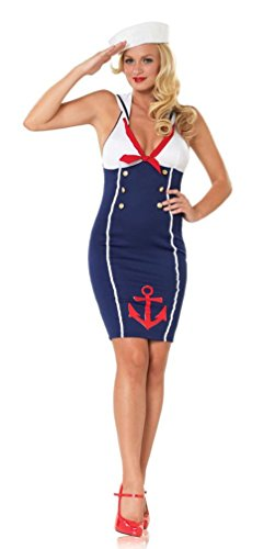 [Popcandy Ahoy There Hottie! Sexy Sailor Dress Pin-up Costume Sailor Girl Dress 83482] (Holiday Pin Up Costumes)