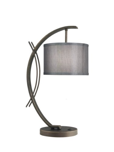 Woodbridge Lighting 13481MEB-S10802 Eclipse 1-Light Table Lamp, 7-1/2-Inch by 21-3/4-Inch, Metallic - Woodbridge Stores