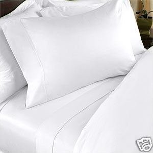 600TC 100% Egyptian Cotton Fitted Sheet + 2 Pillowcases Solid White Color Expanded  Queen Size
