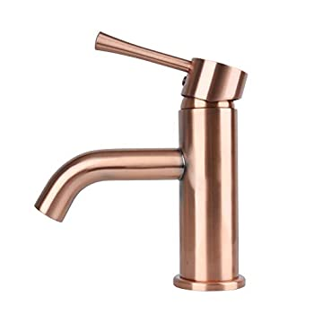 Image of Antique Copper Single Hole Bathroom Basin Faucet Basin Mixer Tap Solid Brass Lead-Free Low-Arc Lavatroy Hot and Cold Water Faucet Akicon Touch On Faucets