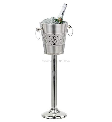 Deep Hammered Double Walled Insulated Brushed Nickel Plated Majestic Wine & Ice Bucket With Steel Bucket Stand   Wine Chiller On Stand Kitchenware Bar ware
