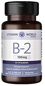 B-2 100mg Energy Support, Supports Healthy Vision & Skin Health, Easy to Swallow 100 Coated Caples Vegetarian Supplement by Vitamin World