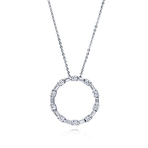 BERRICLE Rhodium Plated Sterling Silver Cubic Zirconia CZ Open Circle Wedding Pendant Necklace Circle Of Love Pendant Necklace