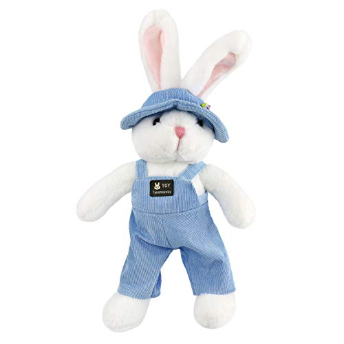 Athoinsu Stuffed Bunny Adorable Rabbit Plush with Removable Cloth Spring Festival Children's Day Birthday Gifts Decor, Blue, 18'' (Rabbit Blue Bunny Plush)