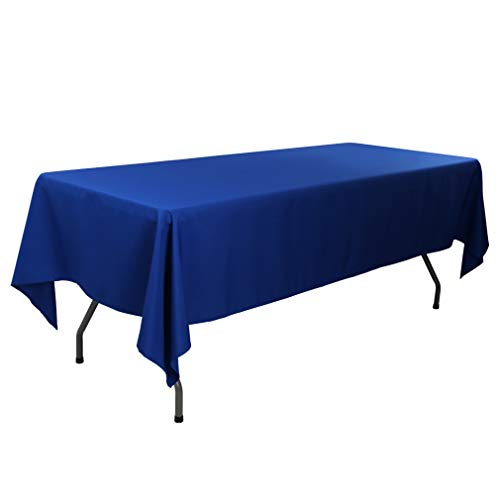 Waysle 70 x 120 inch Rectangular Easy Care Washable Polyester Tablecloth for Parties, Weddings, Dinners, Restaurant and More, Royal Blue