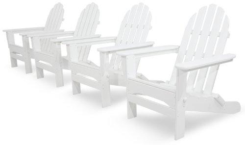 Ivy Terrace IVS104-1-WH Classics 4-Piece Folding Adirondack Conversation Set, ()