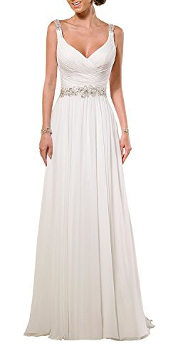 Train Wedding Chiffon Gown - KingBridal V Neck Shoulder Straps Soft Ruching Chiffon Wedding Gown (2, White)