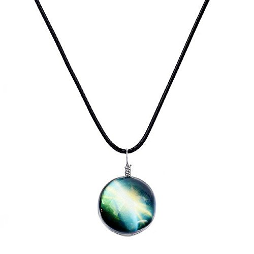 Galaxy & Cosmic Green Glass Pendant Necklace, 16'' Leather Rope, Great Gift for (Swarovski Leather Necklace)