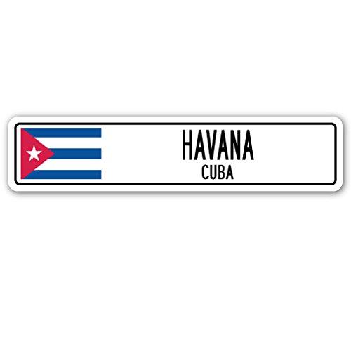 Havana, Cuba Street Sign Cuban Flag City Country Road Wall Gift -