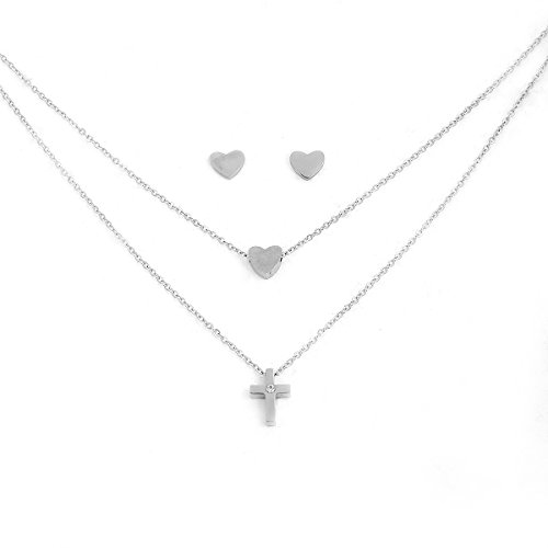 (SEXY SPARKLES Stainless Steel Jewelry Double Layered Cross Necklace with Heart Stud)