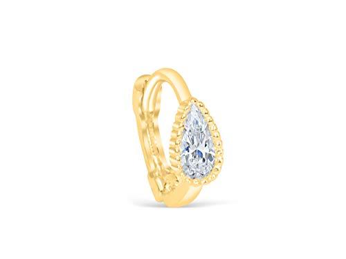 (14K Solid Yellow Gold Jewelry Raindrop Waterdrop Teardrop Tragus Cartilage Snug Rook Daith Helix Ear Segment Clicker Hoop Ring Piercing Earring For Women)