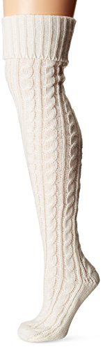 Muk Luks Women's 28'' Knee High Cable Socks, ivory, One Size fits Most