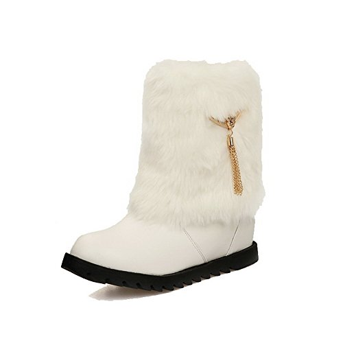 Heels Boots Women's White on Kitten Round Closed Solid Pull Low Toe top AgooLar v6wPdqxOfq