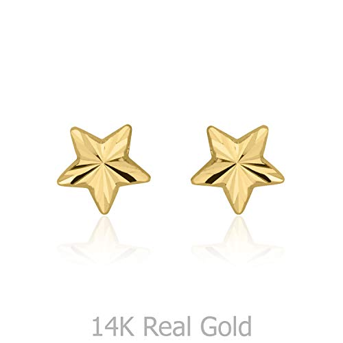 (14K Solid Yellow Gold Star Screw Back Stud Earrings for Teens and Women Kids Gift)