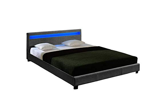 Parma Platform upholstered Bed Italian Premium Modern Design with LED Lights by ZTOZZ (Queen, Grey - Platform Bed Italian Modern