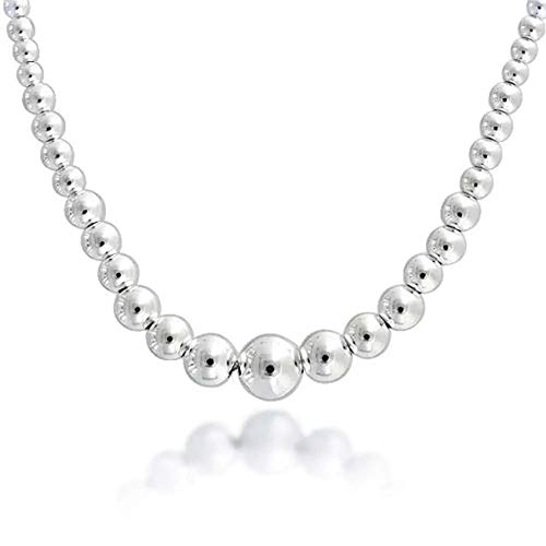 Verona Jewelers Italian 925 Sterling Silver 4-10MM Graduated Silver Bead Necklace-Sterling Silver Bead Ball Necklace for Women (16)