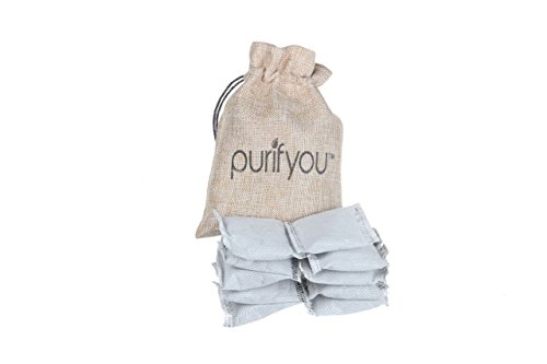 purifyou Natural Air Purifier and Diaper Pail Deodorizer Bamboo Carbon Filters, Set of 12