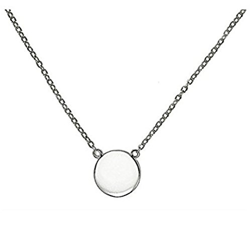 Simple Disk Round Pendant Necklace .925 Sterling Silver 16