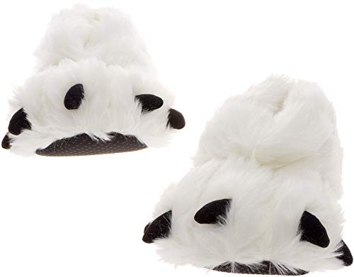(Silver Lilly Bear Paw Animal Slippers (White,)