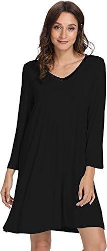 WiWi Womens Bamboo Long Sleeve Nightgowns Stretchy Sleepwear Comfy Nightshirts Plus Size Sleep Dress Nightwear S-4X