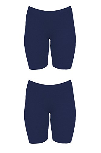 In Touch Bike Shorts Women's 2 Pack Spandex Shorts for Yoga Gym Biking (X-Large, 2 Pack Navy/Navy)