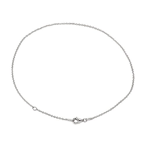 925 Sterling Silver 1.25 mm Cable Chain Anklet With Pear Shape Clasp-RHODIUM FINISH