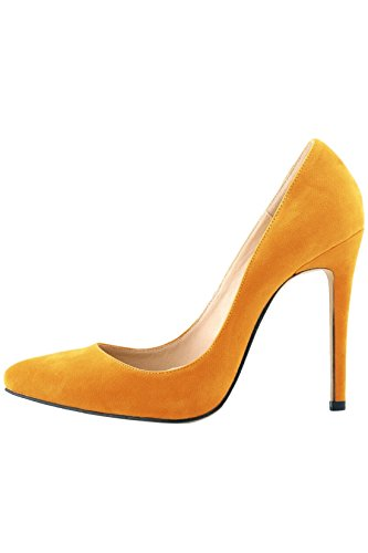 Azbro Zapatos Tacón Alto Estiletes Pu Sólido Punta-Estrecha Naranja