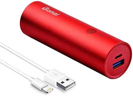 BONAI Batería Externa, 5800mAh Cargador Móvil Portátil Batería Power Bank para iPhone Samsung and Android con Cable Rojo