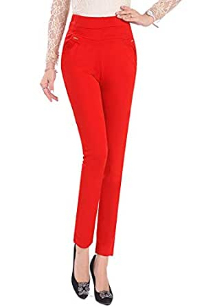 BOZEVON Womens High Waist Plus Size Pants - Casual Straight Leg Trousers Stretch Nine Points Leggings, A1, US 2XL=Tag 3XL