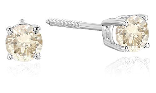 - 3/4 cttw Certified I1-I2 14K Champagne Diamond Stud Earrings White Gold