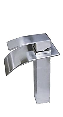 "Apogee by Lenova B482SBN Modern Top Lever Square Bathroom Faucet with Thin ""Waterfall"" Spout"