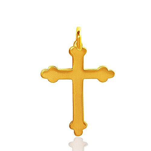 Bijoux pendentif 14K/585 or juane, Croix, Collier. 1.8g