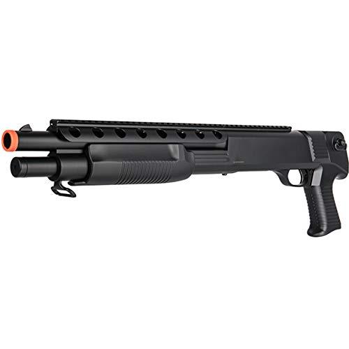 BBTac Airsoft Shotgun M309 Pump Action - Tactical Airsoft Shotgun, Weaver Top Rail, Removeable Clip, Powerful 445 Fps with 6mm BBS (The Best Pump Shotgun)