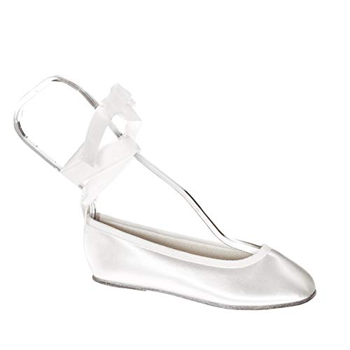 Touch Ups Girls' Gypsy Slip-on Shoes,White Satin,4 M